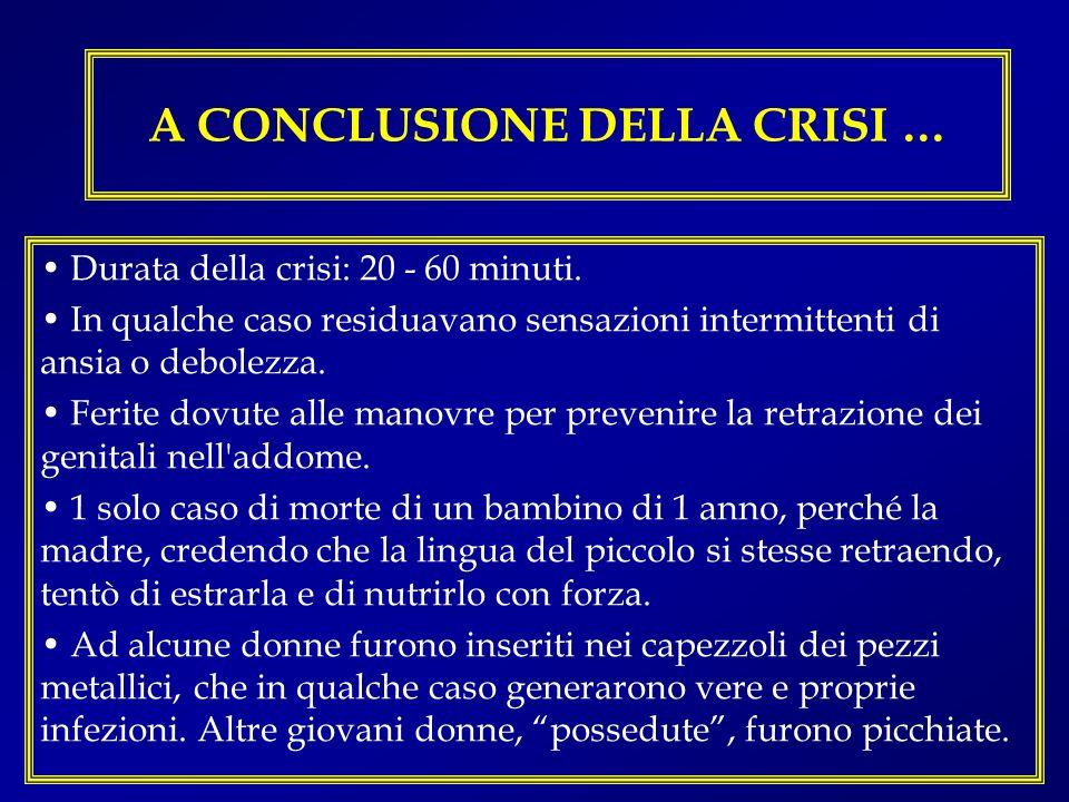 A CONCLUSIONE DELLA CRISI … Durata della crisi: 20 - 60 minuti. In qualche caso residuavano sensazioni intermittenti di ansia o debolezza. Ferite dovu