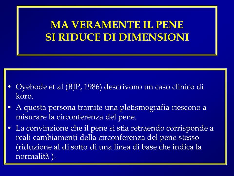 MA VERAMENTE IL PENE SI RIDUCE DI DIMENSIONI Oyebode et al (BJP, 1986) descrivono un caso clinico di koro. A questa persona tramite una pletismografia