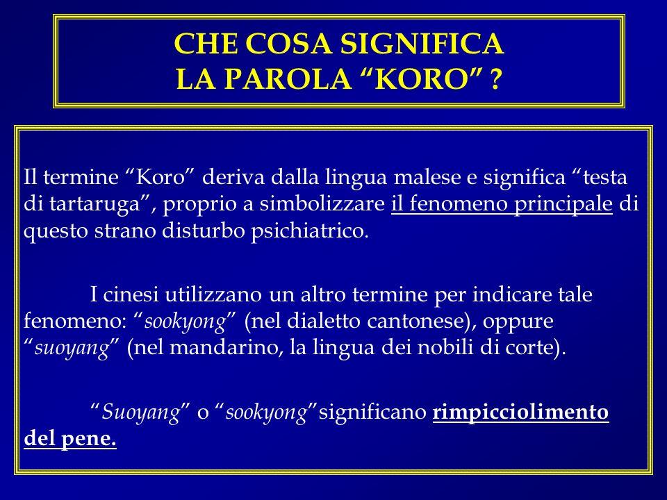 CHE COSA SIGNIFICA LA PAROLA KORO ? Il termine Koro deriva dalla lingua malese e significa testa di tartaruga, proprio a simbolizzare il fenomeno prin