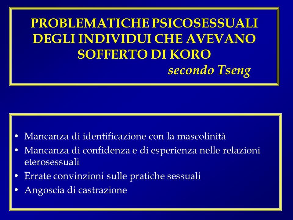 PROBLEMATICHE PSICOSESSUALI DEGLI INDIVIDUI CHE AVEVANO SOFFERTO DI KORO secondo Tseng Mancanza di identificazione con la mascolinità Mancanza di conf