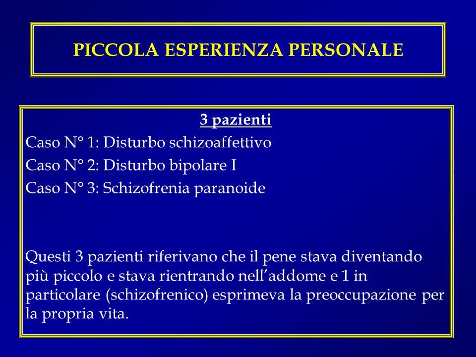PICCOLA ESPERIENZA PERSONALE 3 pazienti Caso N° 1: Disturbo schizoaffettivo Caso N° 2: Disturbo bipolare I Caso N° 3: Schizofrenia paranoide Questi 3