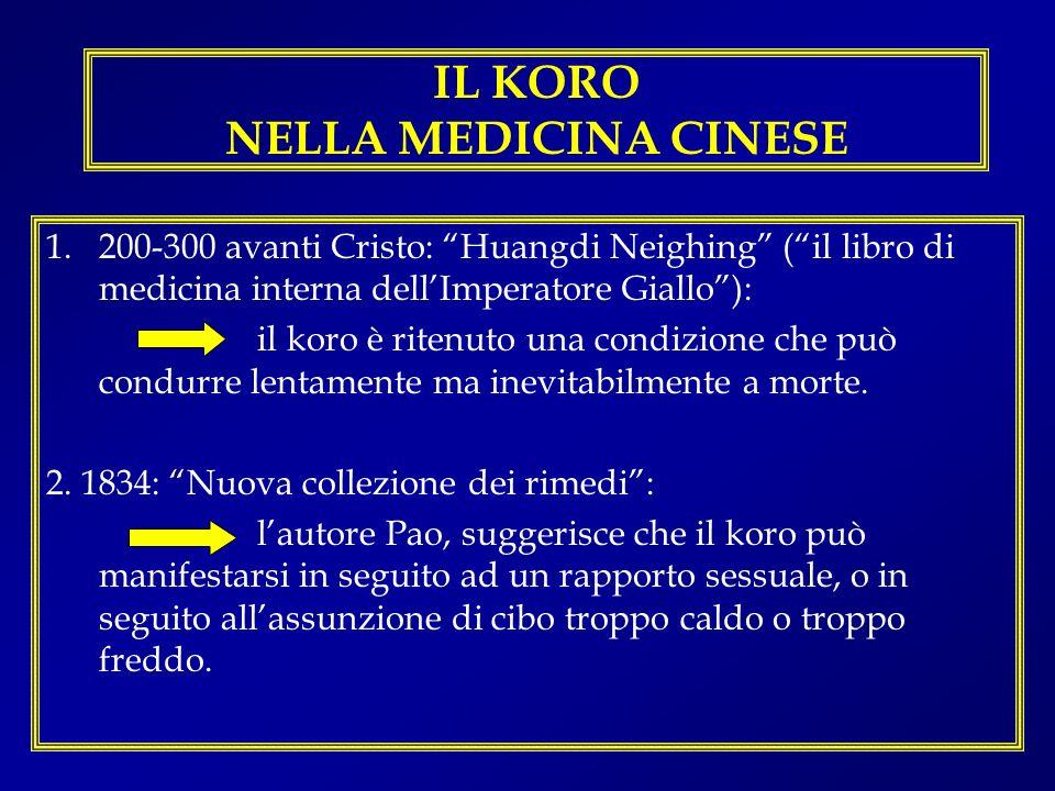 IL KORO NELLA MEDICINA CINESE 1.200-300 avanti Cristo: Huangdi Neighing (il libro di medicina interna dellImperatore Giallo): il koro è ritenuto una c