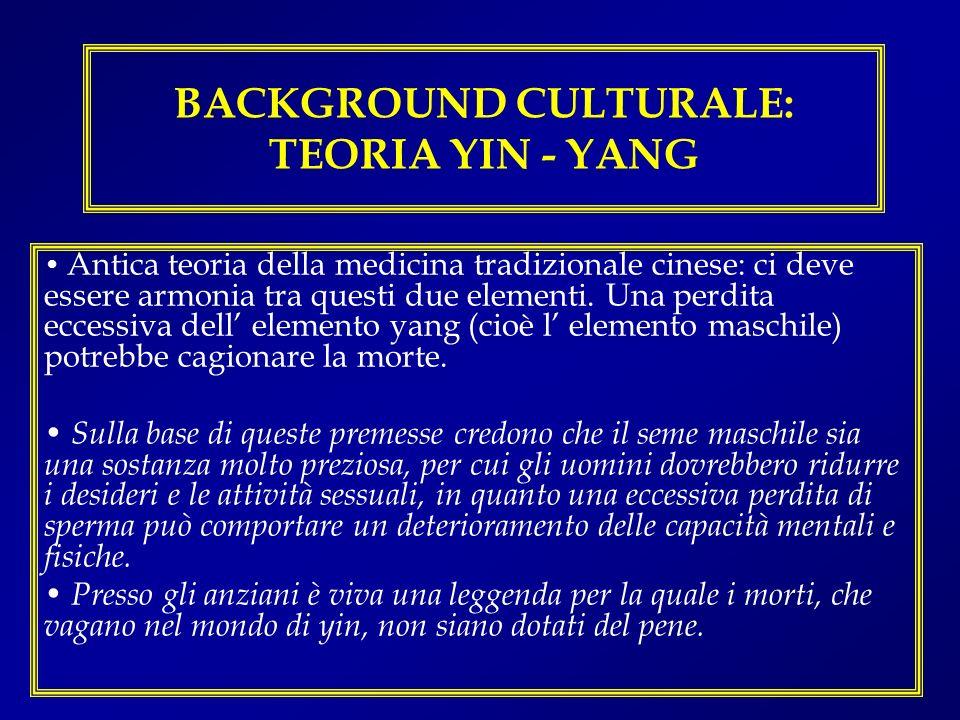 BACKGROUND CULTURALE: TEORIA YIN - YANG Antica teoria della medicina tradizionale cinese: ci deve essere armonia tra questi due elementi. Una perdita