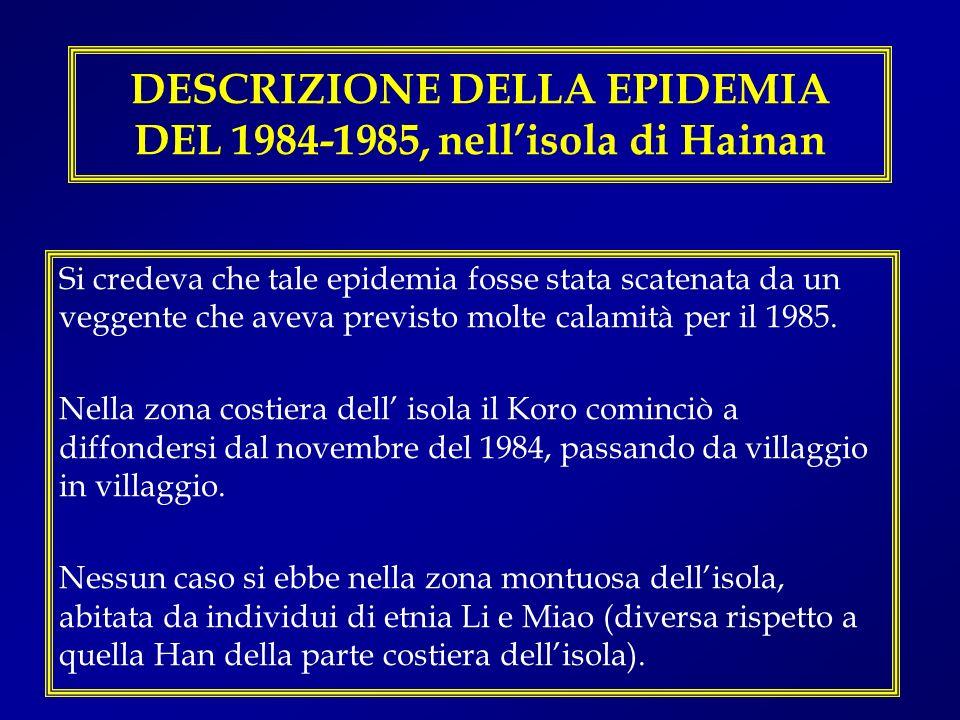 DESCRIZIONE DELLA EPIDEMIA DEL 1984-1985, nellisola di Hainan Si credeva che tale epidemia fosse stata scatenata da un veggente che aveva previsto mol
