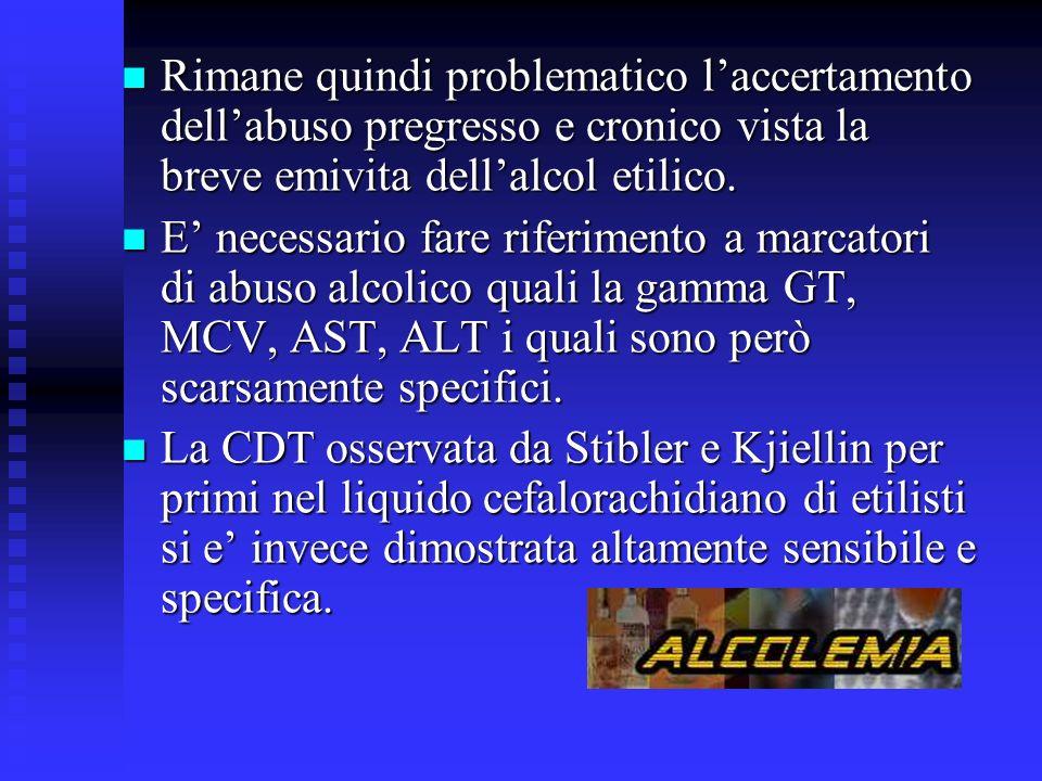 Rimane quindi problematico laccertamento dellabuso pregresso e cronico vista la breve emivita dellalcol etilico.