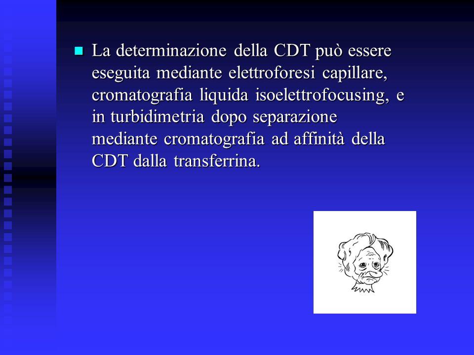 La determinazione della CDT può essere eseguita mediante elettroforesi capillare, cromatografia liquida isoelettrofocusing, e in turbidimetria dopo separazione mediante cromatografia ad affinità della CDT dalla transferrina.