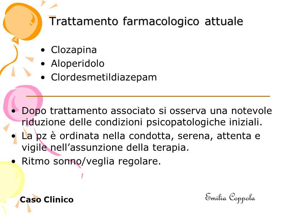 Trattamento farmacologico attuale Clozapina Aloperidolo Clordesmetildiazepam Dopo trattamento associato si osserva una notevole riduzione delle condizioni psicopatologiche iniziali.