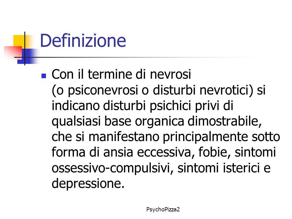 PsychoPizza2 Definizione Con il termine di nevrosi (o psiconevrosi o disturbi nevrotici) si indicano disturbi psichici privi di qualsiasi base organica dimostrabile, che si manifestano principalmente sotto forma di ansia eccessiva, fobie, sintomi ossessivo-compulsivi, sintomi isterici e depressione.