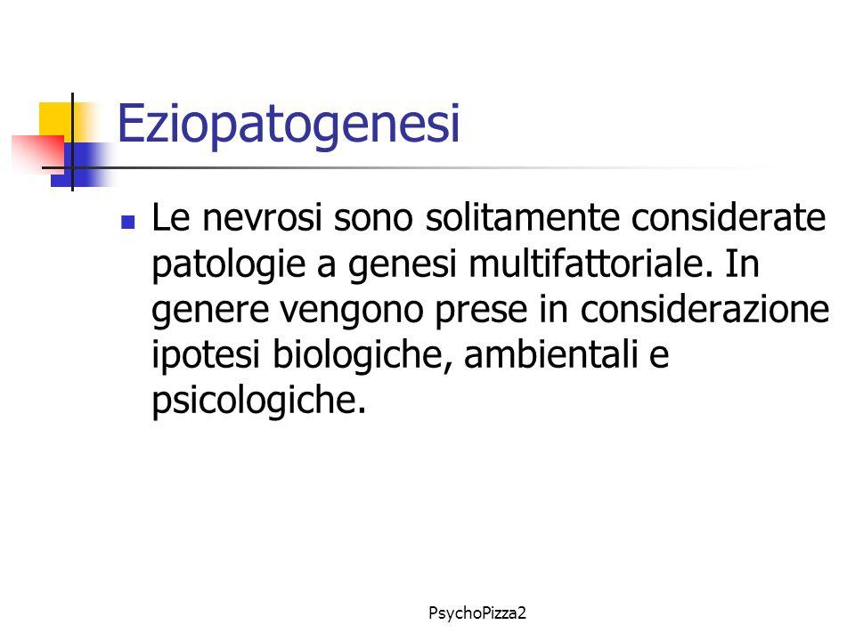PsychoPizza2 Eziopatogenesi Le nevrosi sono solitamente considerate patologie a genesi multifattoriale. In genere vengono prese in considerazione ipot