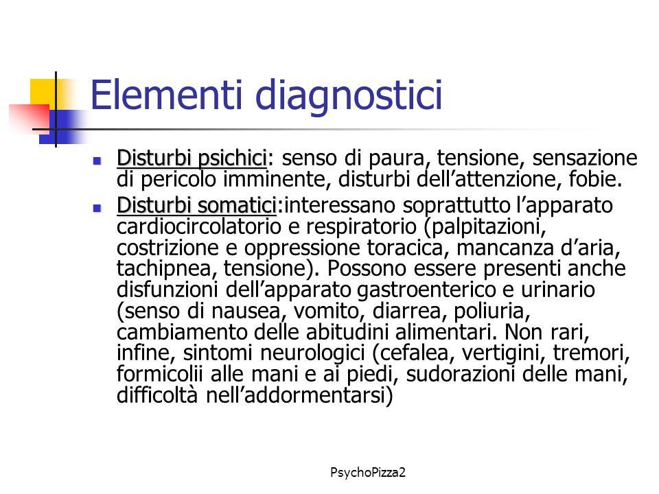 PsychoPizza2 Elementi diagnostici Disturbi psichici Disturbi psichici: senso di paura, tensione, sensazione di pericolo imminente, disturbi dellattenzione, fobie.