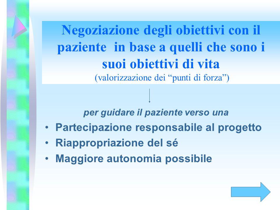 Negoziazione degli obiettivi con il paziente in base a quelli che sono i suoi obiettivi di vita (valorizzazione dei punti di forza) per guidare il paz