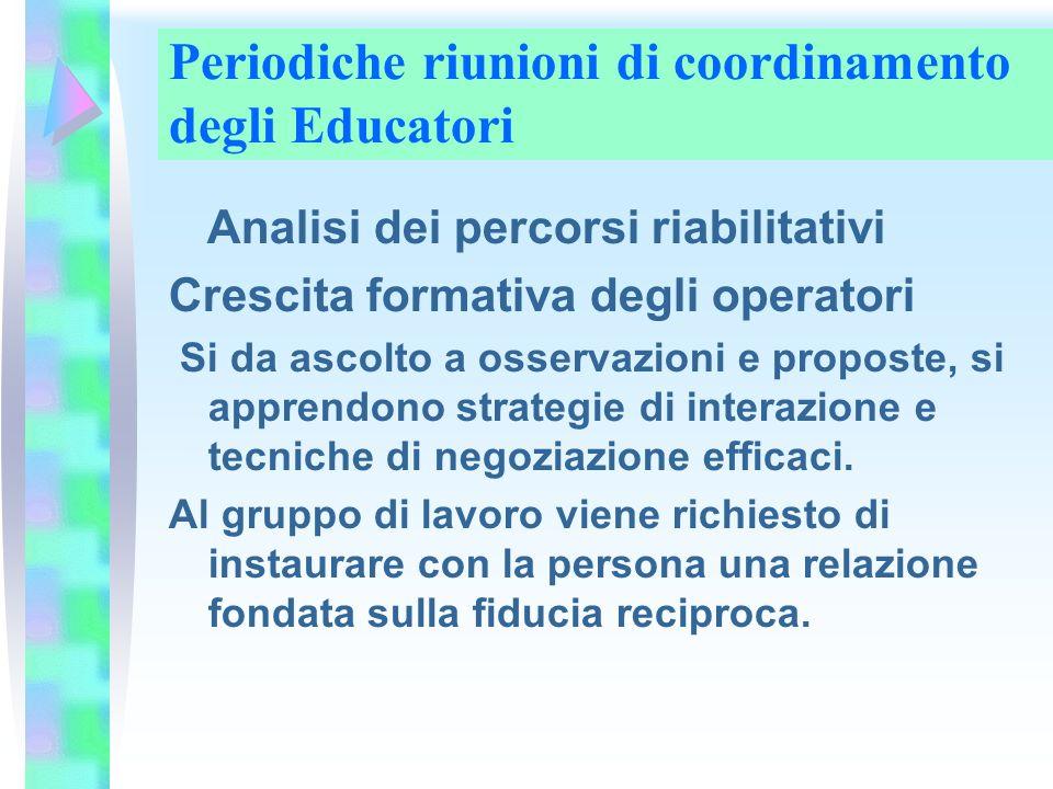 Periodiche riunioni di coordinamento degli Educatori Analisi dei percorsi riabilitativi Crescita formativa degli operatori Si da ascolto a osservazion