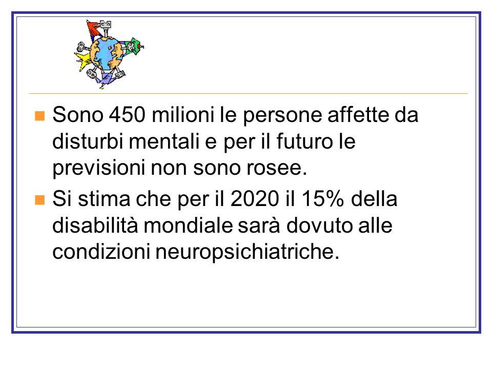 Sono 450 milioni le persone affette da disturbi mentali e per il futuro le previsioni non sono rosee. Si stima che per il 2020 il 15% della disabilità