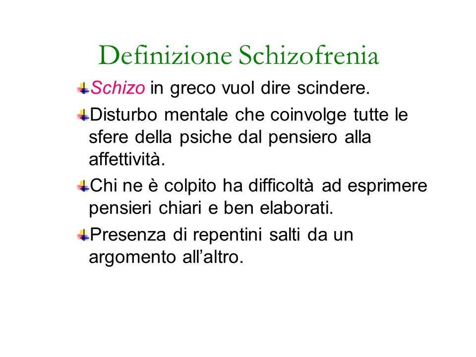 Definizione Schizofrenia Schizo in greco vuol dire scindere. Disturbo mentale che coinvolge tutte le sfere della psiche dal pensiero alla affettività.