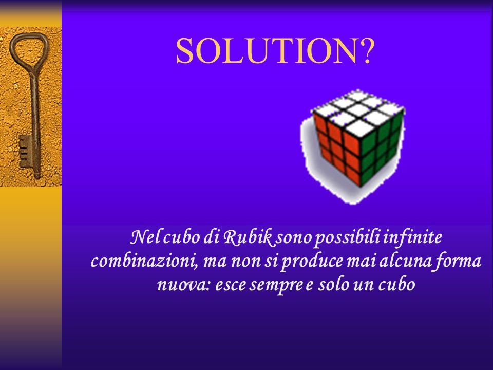 SOLUTION? Nel cubo di Rubik sono possibili infinite combinazioni, ma non si produce mai alcuna forma nuova: esce sempre e solo un cubo