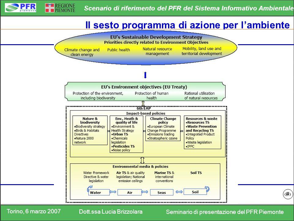Torino, 6 marzo 2007 Dott.ssa Lucia Brizzolara Seminario di presentazione del PFR Piemonte Scenario di riferimento del PFR del Sistema Informativo Ambientale 3 Il sesto programma di azione per lambiente