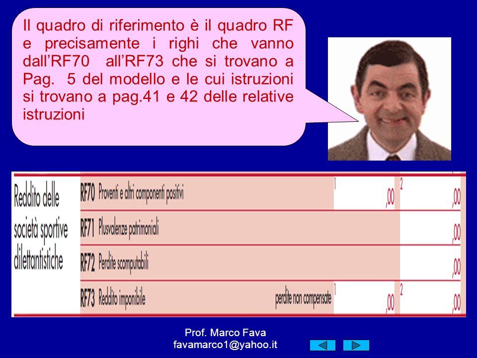 Il quadro di riferimento è il quadro RF e precisamente i righi che vanno dallRF70 allRF73 che si trovano a Pag.