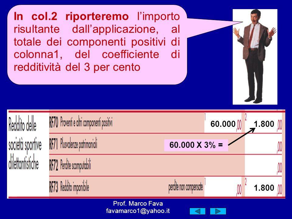 60.000 60.000 X 3% = 1.800 In col.2 riporteremo limporto risultante dallapplicazione, al totale dei componenti positivi di colonna1, del coefficiente di redditività del 3 per cento Prof.