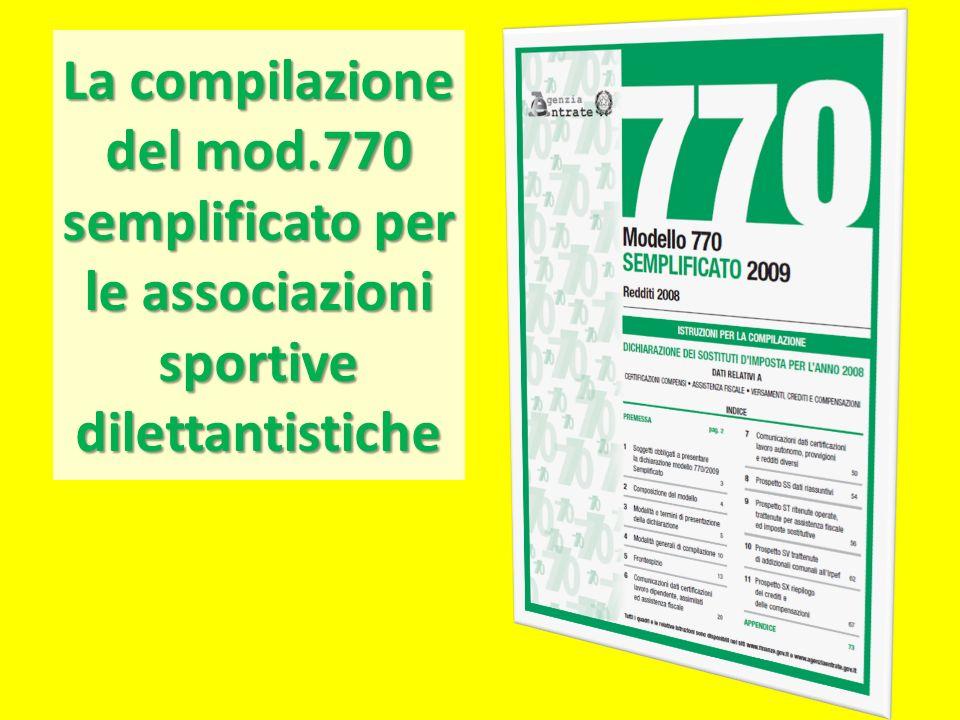 La compilazione del mod.770 semplificato per le associazioni sportive dilettantistiche