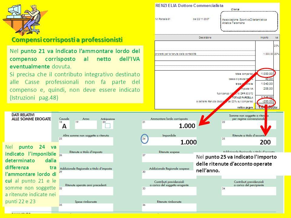 Compensi corrisposti a professionisti Nel punto 21 va indicato lammontare lordo del compenso corrisposto al netto dellIVA eventualmente dovuta. Si pre