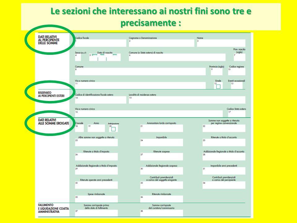 Andiamo a compilare la 1 a sezione : dati relativi al percipiente delle somme Supponiamo che il percipiente sia ROZZETTI ITALO Teramo10/03/1989 nato a Teramo il 10/03/1989 Teramo64100 Via Cavour n.18 residente a Teramo (TE) CAP 64100 in Via Cavour n.18 RZZTLI89C10L103K codice fiscale RZZTLI89C10L103K