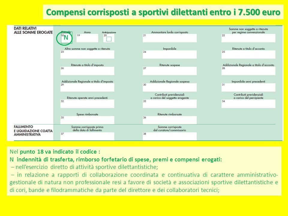Compensi corrisposti a sportivi dilettanti entro i 7.500 euro Nel punto 18 va indicato il codice : N indennità di trasferta, rimborso forfetario di sp