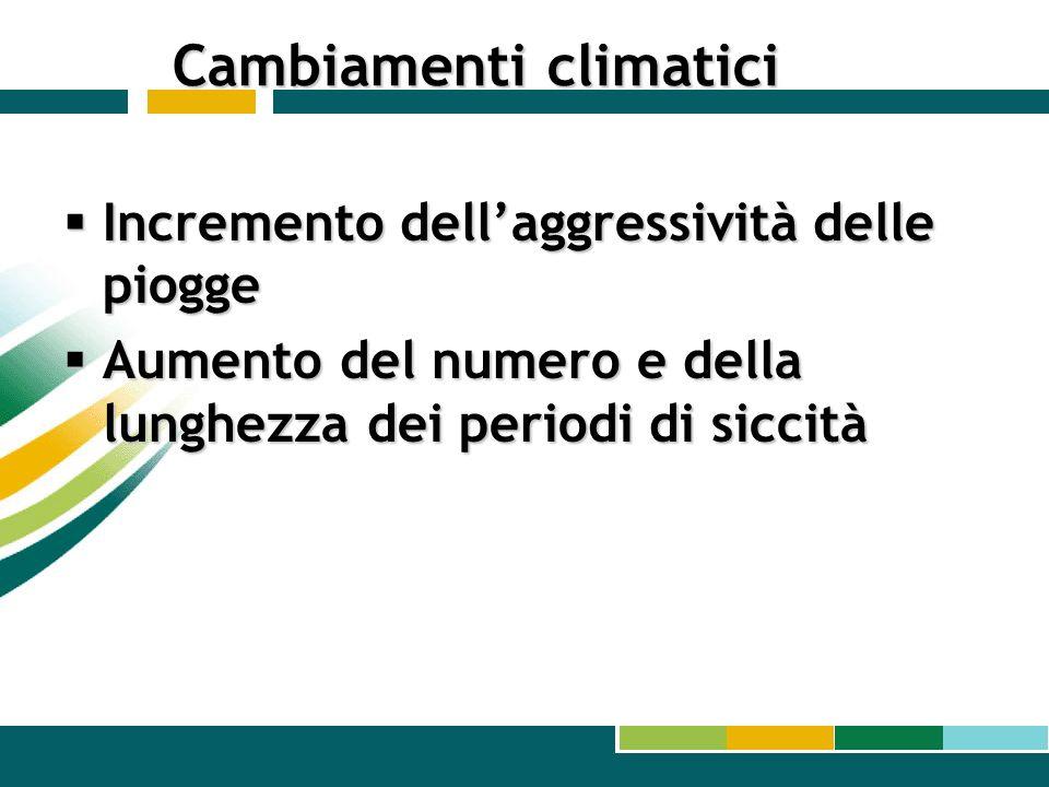 Cambiamenti climatici Incremento dellaggressività delle piogge Incremento dellaggressività delle piogge Aumento del numero e della lunghezza dei perio