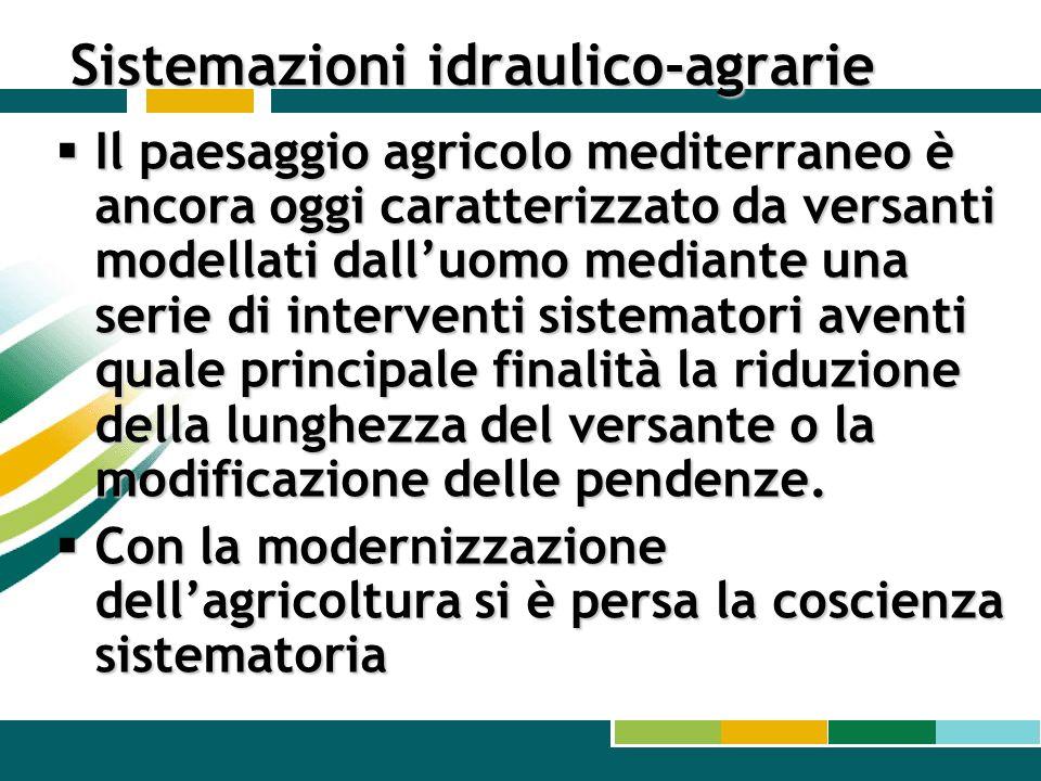 Sistemazioni idraulico-agrarie Il paesaggio agricolo mediterraneo è ancora oggi caratterizzato da versanti modellati dalluomo mediante una serie di in