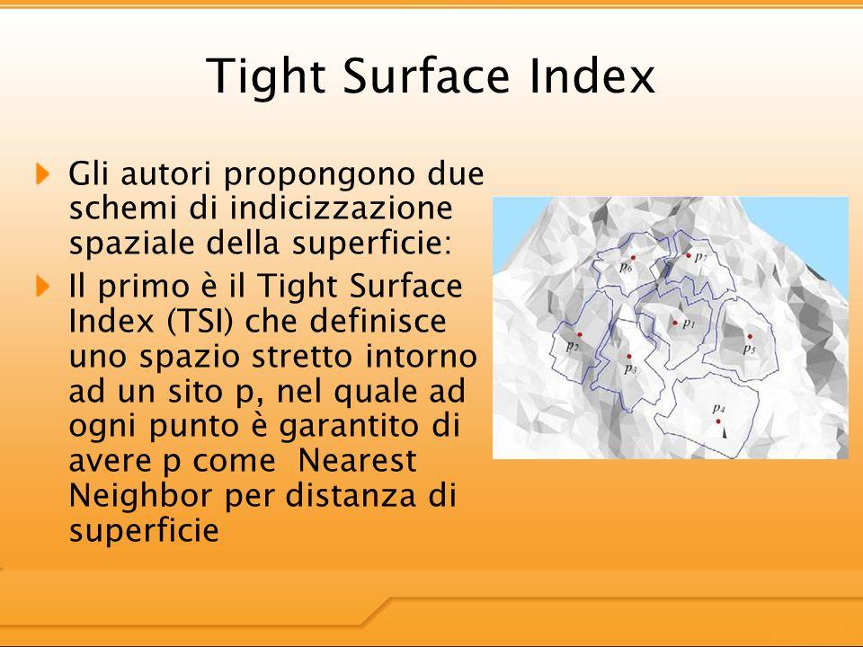 Tight Surface Index Gli autori propongono due schemi di indicizzazione spaziale della superficie: Il primo è il Tight Surface Index (TSI) che definisce uno spazio stretto intorno ad un sito p, nel quale ad ogni punto è garantito di avere p come Nearest Neighbor per distanza di superficie