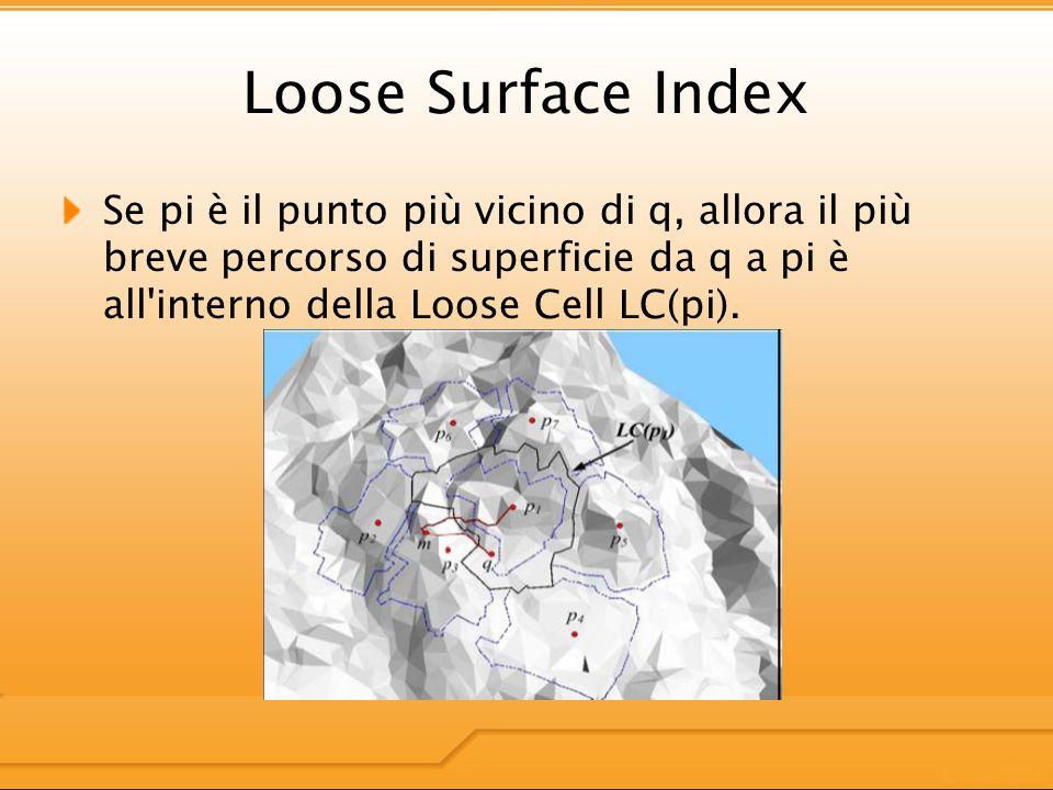 Loose Surface Index Se pi è il punto più vicino di q, allora il più breve percorso di superficie da q a pi è all interno della Loose Cell LC(pi).