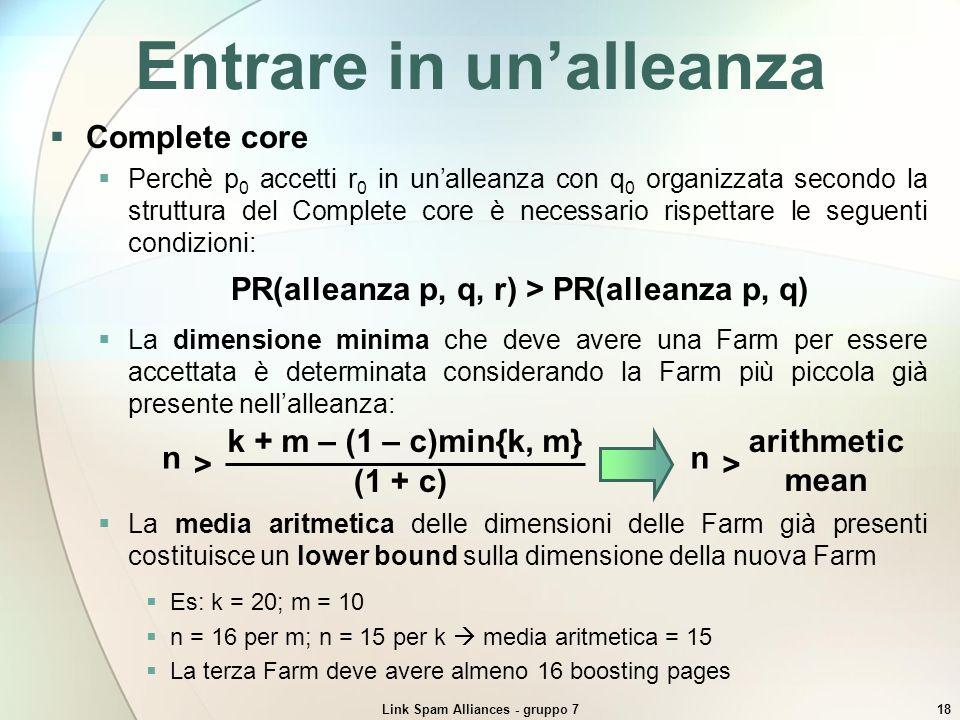 Link Spam Alliances - gruppo 718 Entrare in unalleanza Complete core Perchè p 0 accetti r 0 in unalleanza con q 0 organizzata secondo la struttura del