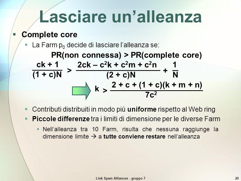 Link Spam Alliances - gruppo 720 Lasciare unalleanza Complete core La Farm p 0 decide di lasciare lalleanza se: PR(non connessa) > PR(complete core) >
