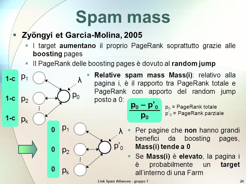 Link Spam Alliances - gruppo 724 1-c Relative spam mass Mass(i): relativo alla pagina i, è il rapporto tra PageRank totale e PageRank con apporto del