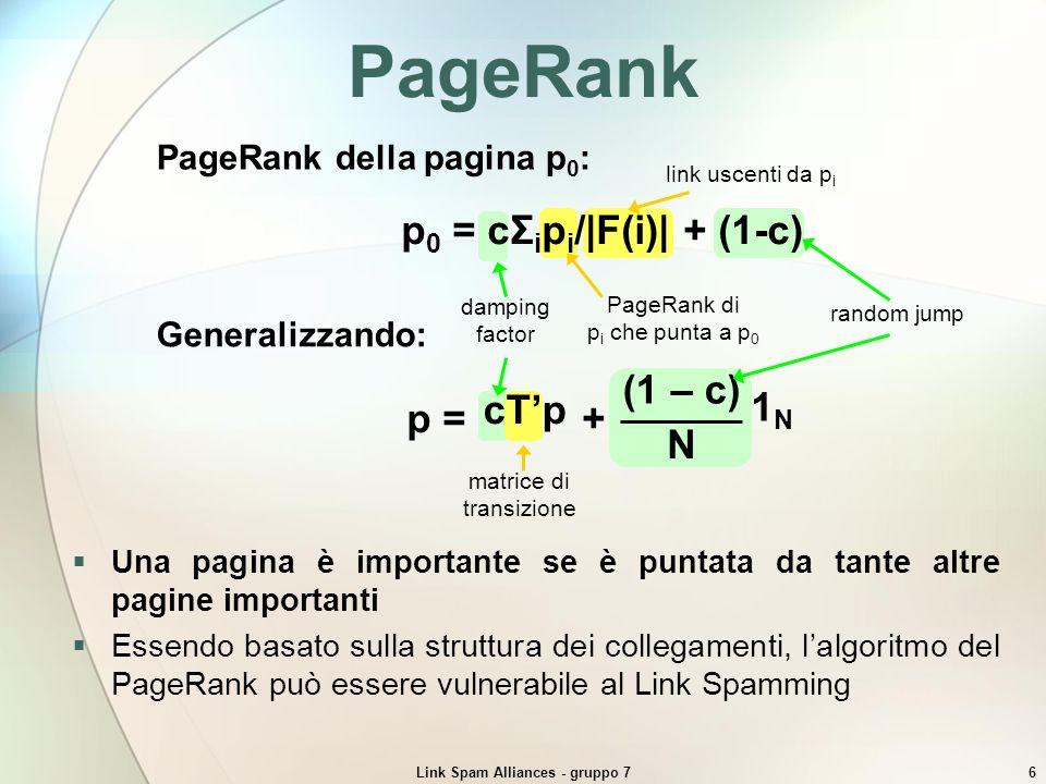 Link Spam Alliances - gruppo 717 Entrare in unalleanza Web ring Perchè p 0 accetti r 0 in unalleanza con q 0 organizzata secondo la struttura del Web ring è necessario rispettare le seguenti condizioni: PR(alleanza p, q, r) > PR(alleanza p, q) ck + c 2 m + c 3 n (1 + c + c 2 )N ck + c 2 m (1 + c)N > n k + cm (1 + c) > Le dimensioni delle Farm già presenti determinano la dimensione minima che deve avere una Farm per essere accettata La media pesata delle dimensioni delle Farm già presenti costituisce un lower bound sulla dimensione della nuova Farm Es: k = 20; m = 10: Con FL a q n = 16 Il punto di inserimento della Farm entrante ne influenza la dimensione minima