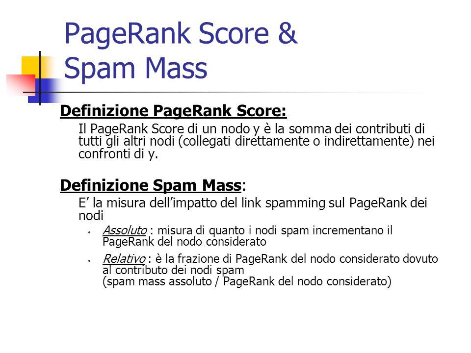 PageRank Contribution Definizione PageRank Contribution: Si introduce il concetto di: cammino (walk) da x a y contributo del PageRank lungo il cammino considerazione degli inlink indiretti Da notare: il contributo di un nodo a se stesso è pari alla probabilità di saltare casualmente su quel nodo [(1- c) n] in assenza di un cammino da x a y, il contributo di x su y, in termini di PageRank, è nullo