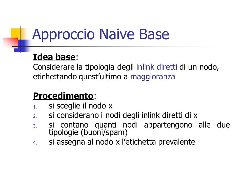 Spam Detection Algorithm Concetti base: PageRank Contribution PageRank Score Spam Mass: assoluto relativo