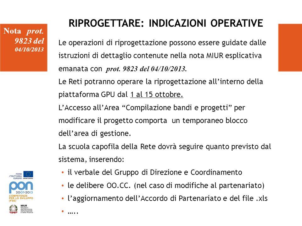 RIPROGETTARE: INDICAZIONI OPERATIVE Nota prot. 9823 del 04/10/2013 Le operazioni di riprogettazione possono essere guidate dalle istruzioni di dettagl