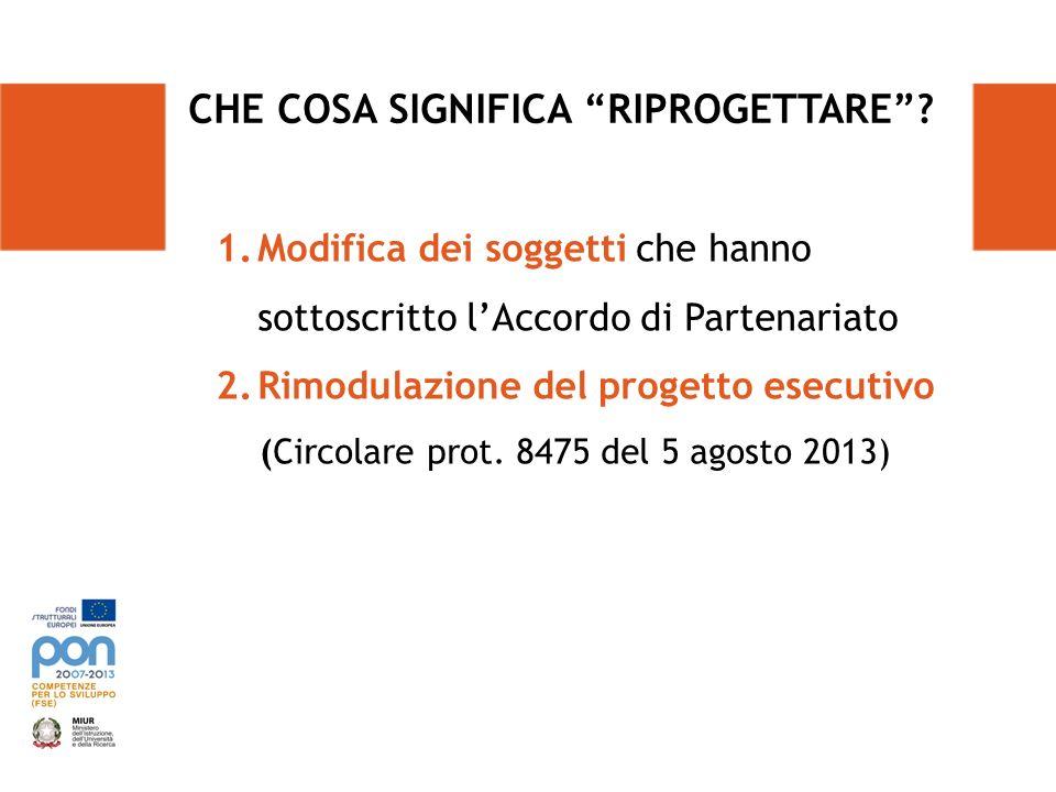 CHE COSA SIGNIFICA RIPROGETTARE? 1.Modifica dei soggetti che hanno sottoscritto lAccordo di Partenariato 2.Rimodulazione del progetto esecutivo (Circo