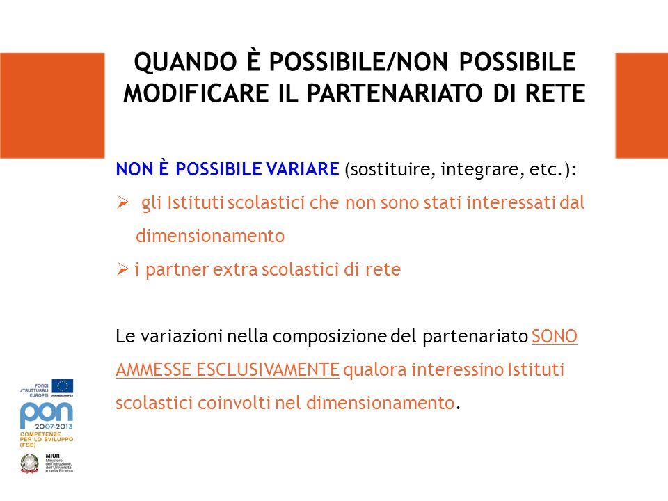 NON È POSSIBILE VARIARE (sostituire, integrare, etc.): gli Istituti scolastici che non sono stati interessati dal dimensionamento i partner extra scol