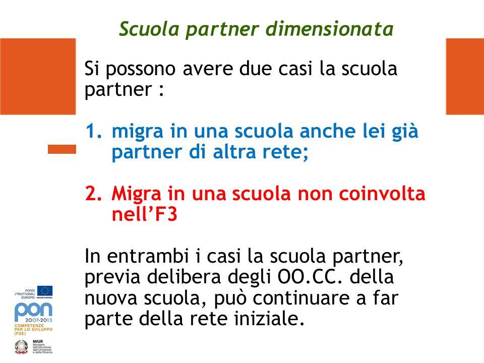 Scuola partner dimensionata Si possono avere due casi la scuola partner : 1.migra in una scuola anche lei già partner di altra rete; 2.Migra in una sc
