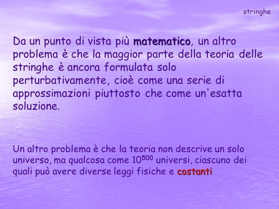 matematico Da un punto di vista più matematico, un altro problema è che la maggior parte della teoria delle stringhe è ancora formulata solo perturbat