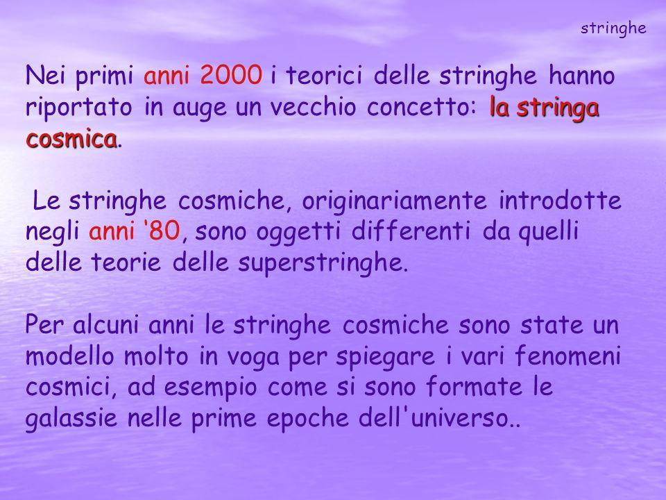 la stringa cosmica Nei primi anni 2000 i teorici delle stringhe hanno riportato in auge un vecchio concetto: la stringa cosmica. Le stringhe cosmiche,