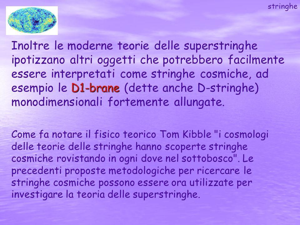 D1-brane Inoltre le moderne teorie delle superstringhe ipotizzano altri oggetti che potrebbero facilmente essere interpretati come stringhe cosmiche,