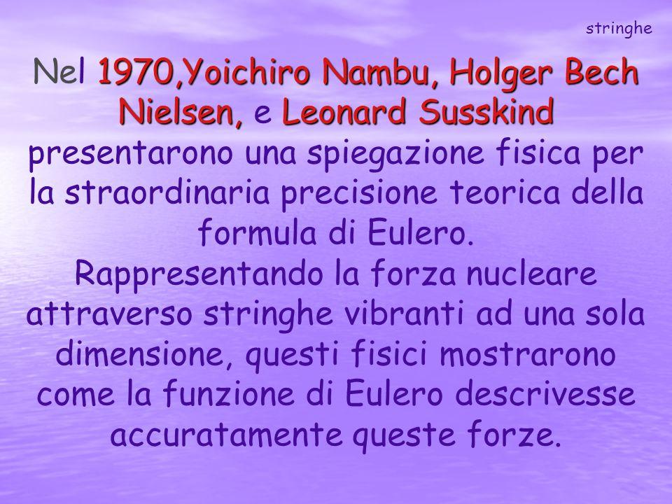 1970,Yoichiro Nambu, Holger Bech Nielsen, Leonard Susskind Nel 1970,Yoichiro Nambu, Holger Bech Nielsen, e Leonard Susskind presentarono una spiegazio