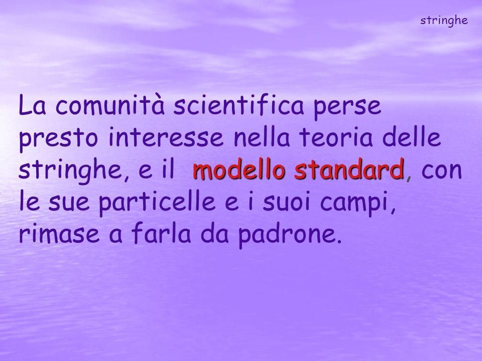 modello standard La comunità scientifica perse presto interesse nella teoria delle stringhe, e il modello standard, con le sue particelle e i suoi cam
