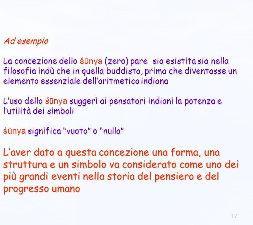 17 Ad esempio La concezione dello śūnya (zero) pare sia esistita sia nella filosofia indù che in quella buddista, prima che diventasse un elemento ess