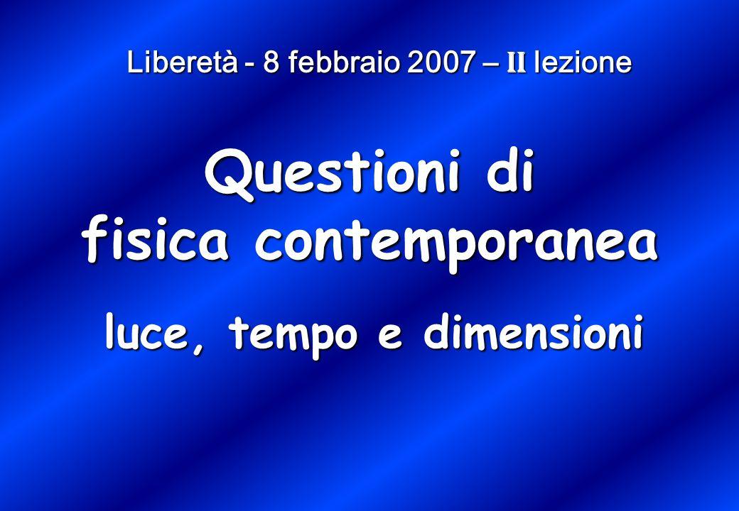 Liberetà - 8 febbraio 2007 – II lezione luce, tempo e dimensioni Questioni di fisica contemporanea