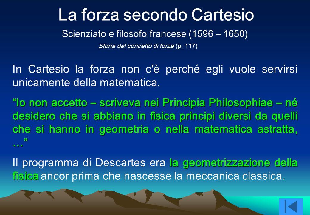 In Cartesio la forza non c è perché egli vuole servirsi unicamente della matematica.