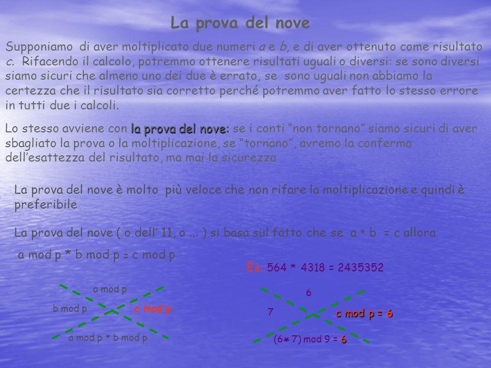 La prova del nove Supponiamo di aver moltiplicato due numeri a e b, e di aver ottenuto come risultato c. Rifacendo il calcolo, potremmo ottenere risul