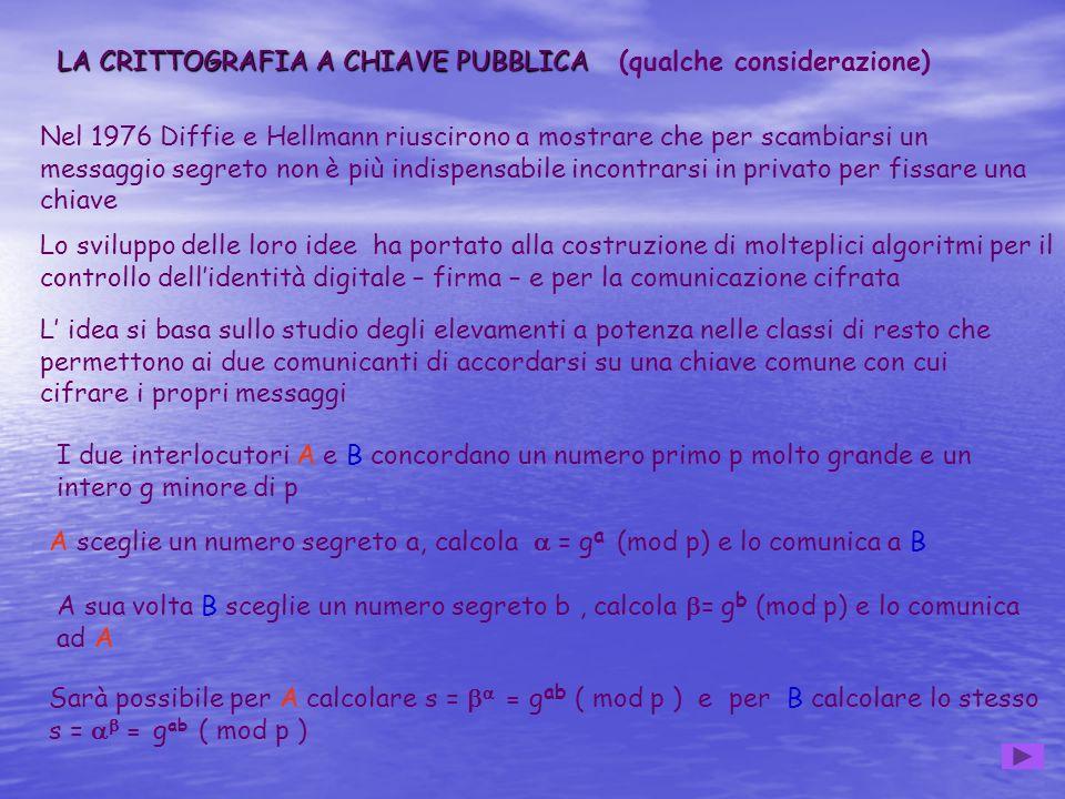 LA CRITTOGRAFIA A CHIAVE PUBBLICA LA CRITTOGRAFIA A CHIAVE PUBBLICA (qualche considerazione) Nel 1976 Diffie e Hellmann riuscirono a mostrare che per